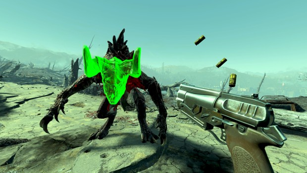 Fallout 4 VR screenshot of a battle against a Deathclaw