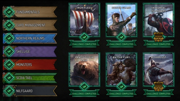 Gwent tutorial screenshot showing the singleplayer challenges