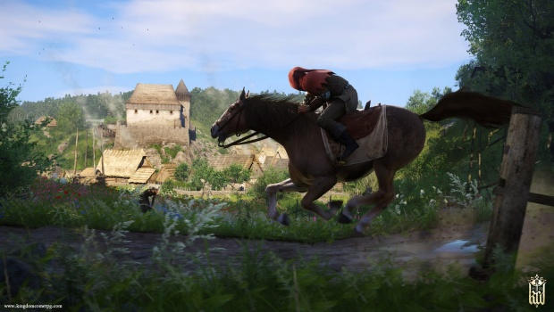 Kingdom Come: Deliverance screenshot of a rider going next to a field