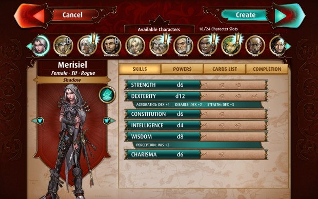 Pathfinder Adventures screenshot from the PC version showing the character creator