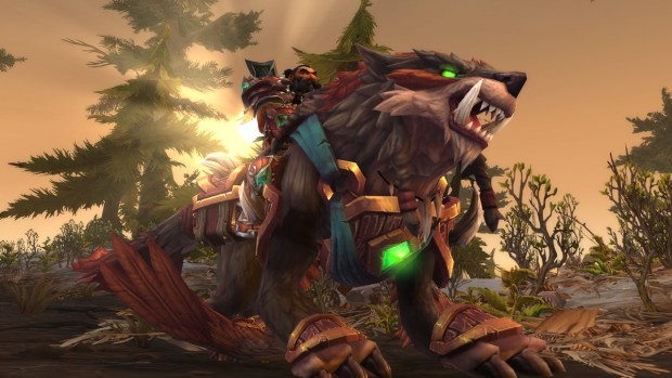 A Dwarf riding the hunter exclusive class mount