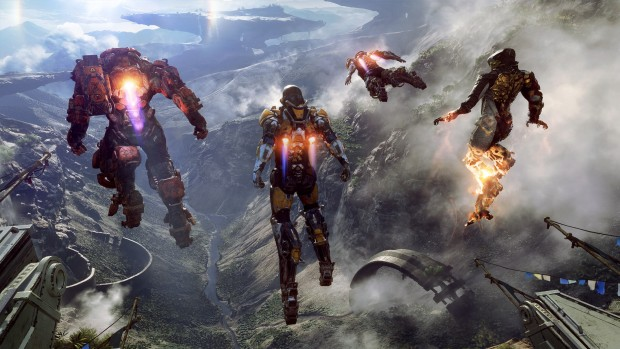 Anthem screenshot of multiple characters flying with jetpacks