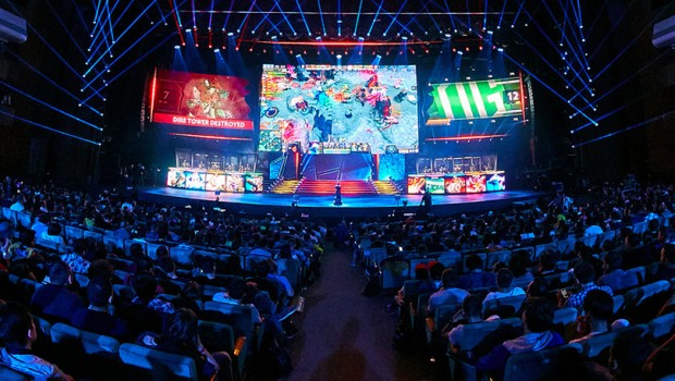 Photo from a Dota 2 tournament arena