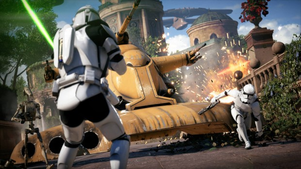 Star Wars Battlefront 2 screenshot of a tank and stormtroopers