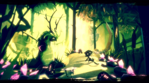 Fe adventure game screenshot of the green forest and a giant slug