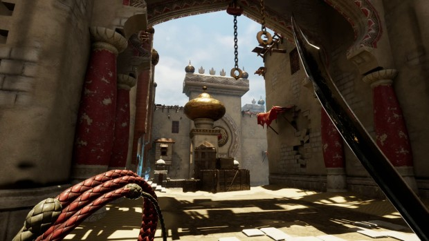 City of Brass screenshot of a sword and a whip in first person
