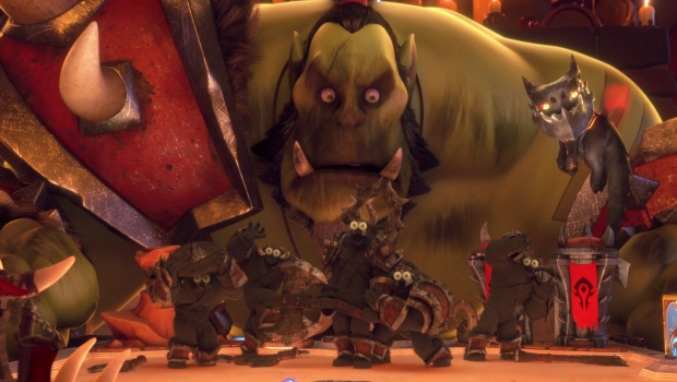 Hearthstone animated short screenshot of the Orc and his burnt down board