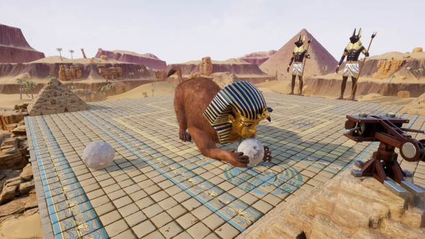 Rock of Ages 2 screenshot of the Sphinx playing with the ball