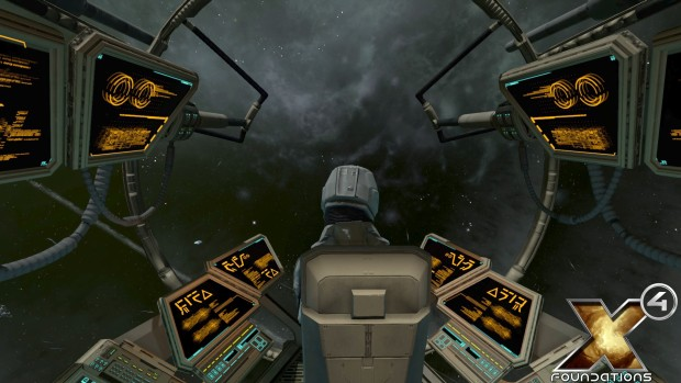 X4: Foundations screenshot from within a star ship cockpit