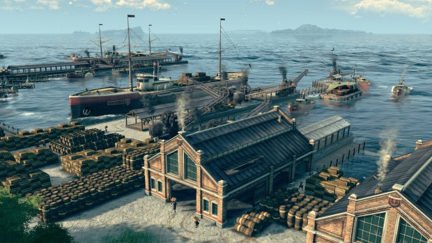 Anno 1800 screenshot of a highly busy and very smoky harbor