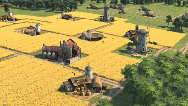 Anno 1800 screenshot of some very large farmlands