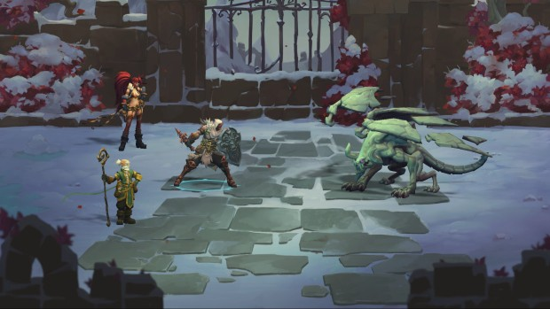 Battle Chasers: Nightwar screenshot of a battle with a gargoyle