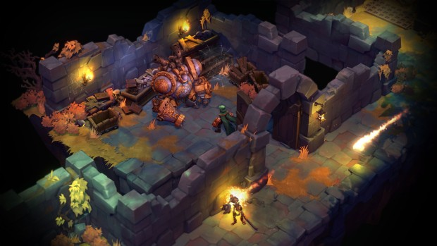 Battle Chasers: Nightwar screenshot of a broken robot and our main character