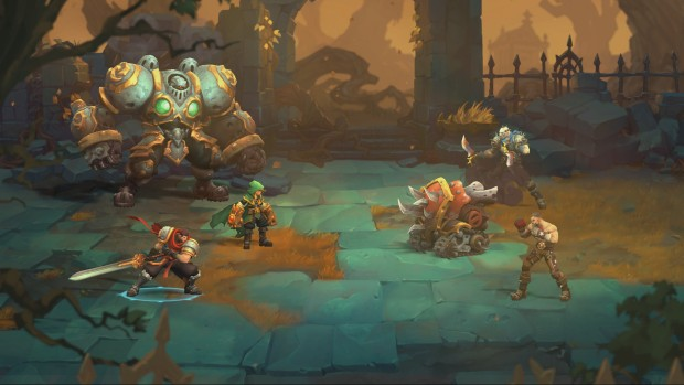 Battle Chasers: Nightwar screenshot of a battlefield and a swordsman