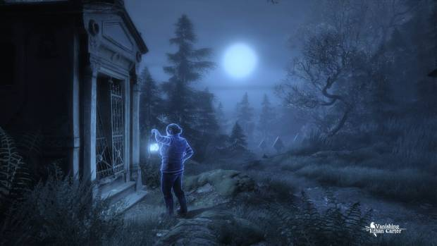 A screenshot of a well lit character at night.
