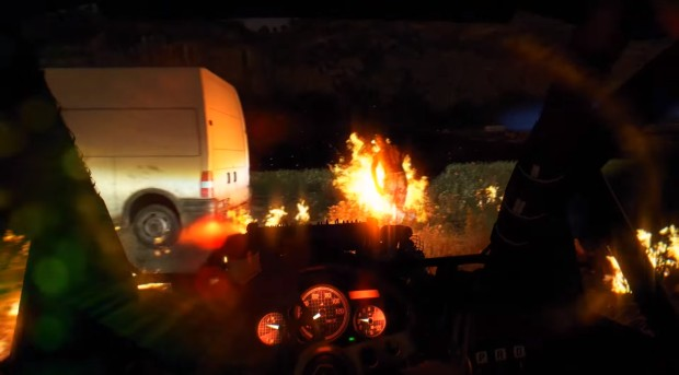 Buggy with a flamethrower in Dying Light: The Following DLC