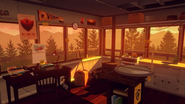 Firewatch screenshot showcasing a ranger tower