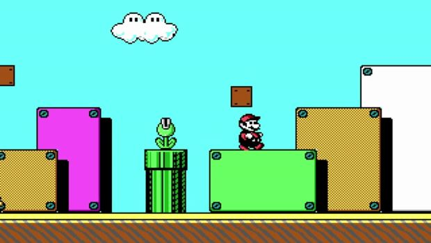 Mario and a pyrana plant from ID Software's 1990s Super Mario Bros 3 PC demo
