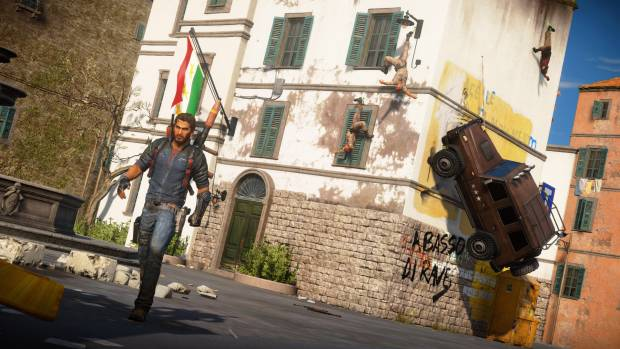 Just Cause 3 Rico sticking a car to the side of a building