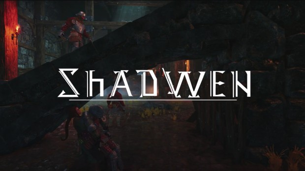 Main character in shadwen stealthily dragging a body beneath the logo