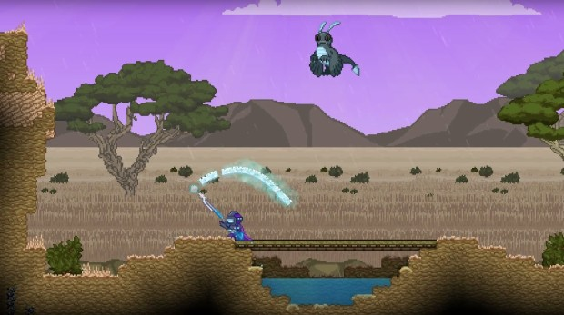 A Spear in Starbound's Latest update allows you to draw a protective shield