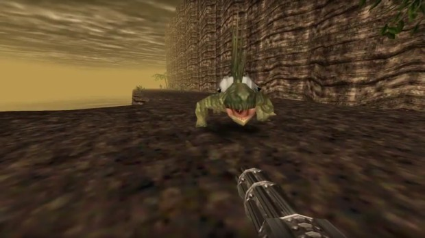 The graphics in the Turok remaster are lacking at some points, especially with the fog removed