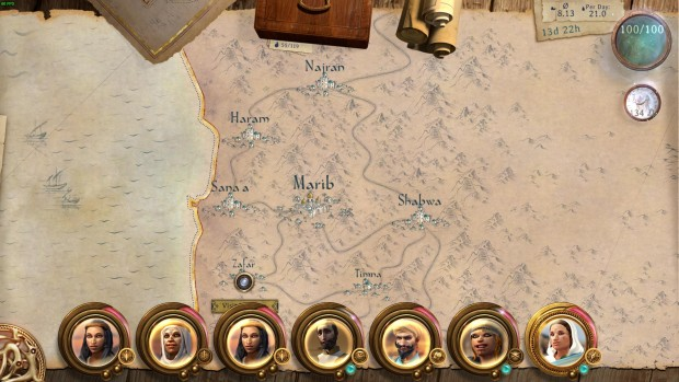 Caravan game screenshot showing the playable map