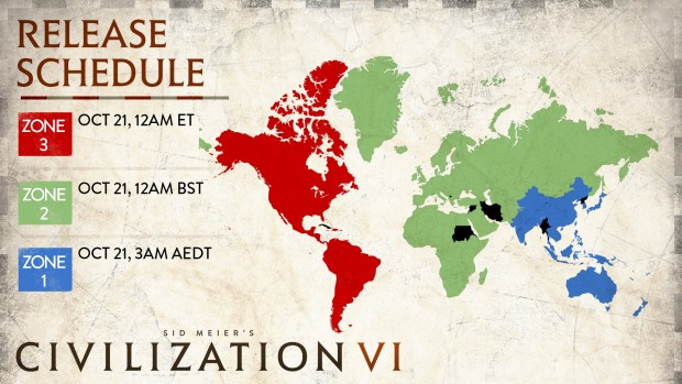 Civilization 6 release dates worldwide