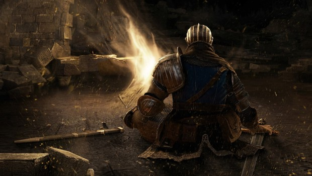 Dark Souls bonfire artwork with a knight sitting in the shadows