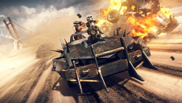Car chase screenshot from the Mad Max game