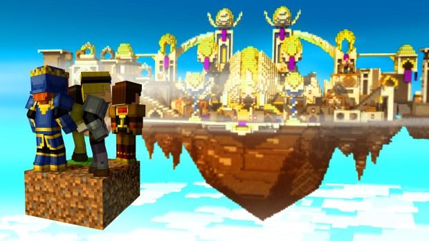 Minecraft: Story Mode screenshot showcasing a golden city