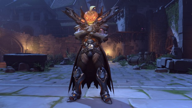 Overwatch's Halloween themed Reaper skin with a pumpkin