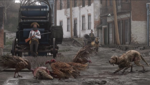 Red Dead Redemption 2 screenshot showcasing a dog, vultures, and a hunter