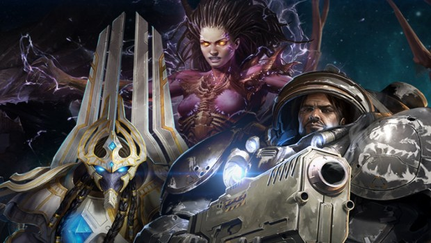 Starcraft 2 artwork showing the three races