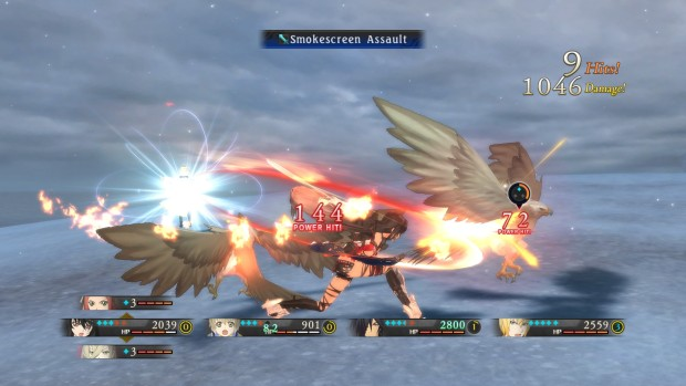 Tales of Berseria combat screenshot against eagles