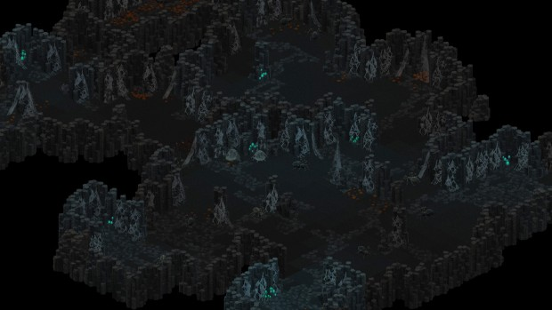 UnderRail: Expedition screenshot showing a cavern full of spiders