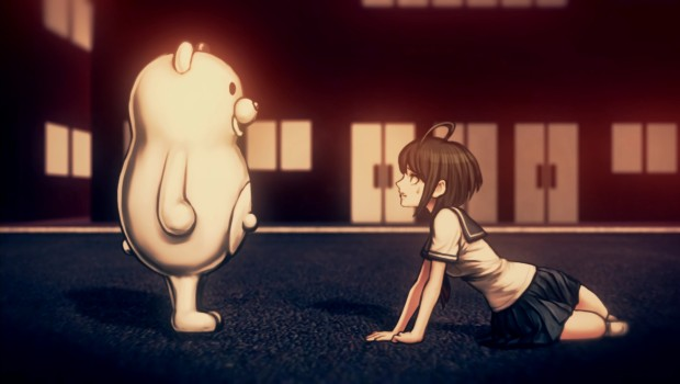 Danganronpa Another Episode: Ultra Despair Girls screenshot showing a main character and a giant teddybear