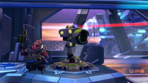 Battleborn's Toby's Friendship Raid Andrei and turret