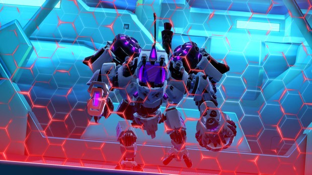 Battleborn's Toby's Friendship Raid mech behind a protective wall