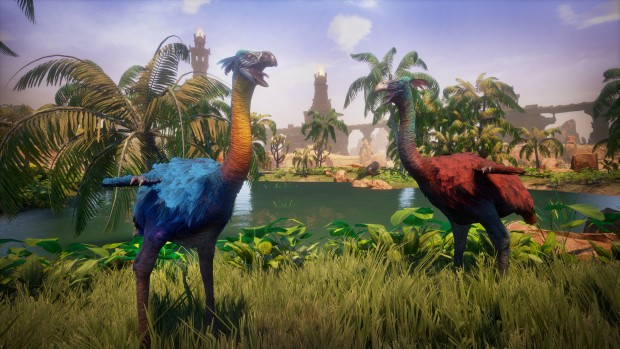 Screenshot of colorful dodo birds from Conan Exiles