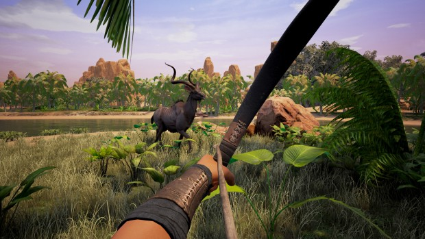 Screenshot of using a bow and arrow to hunt in Conan Exiles