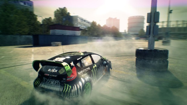 Dirt 3 Complete Edition screenshot showing a car spinning around a pillar
