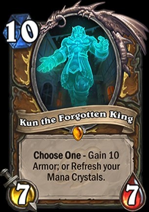 Hearthstone's Mean Streets of Gagetzan expansion card Kun the Forgotten King