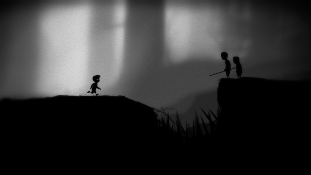 Limbo screenshot showing the main character and two other people
