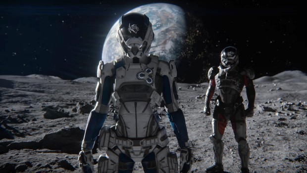 Mass Effect: Andromeda image of the Pathfinder standing no the Moon