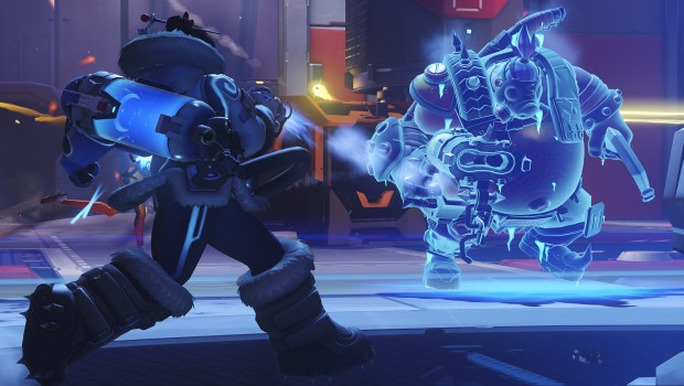 Overwatch artwork showing off Mei freezing Roadhog