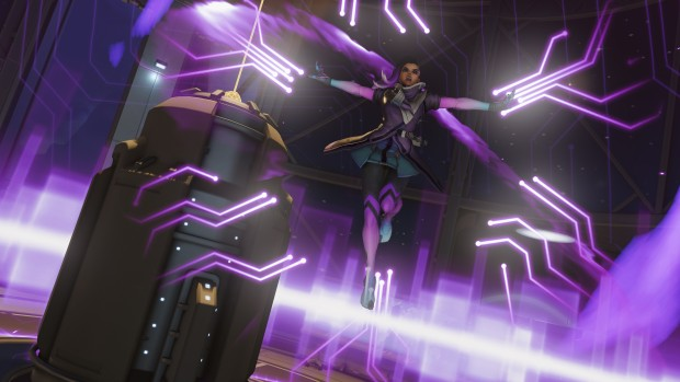 Sombra from overwatch using her ultimate ability