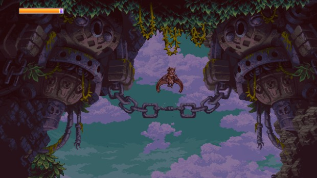 Owlboy screenshot showcasing chains in the sky