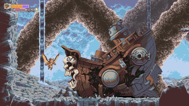 Owlboy screenshot showing a destroyed sky pirate ship