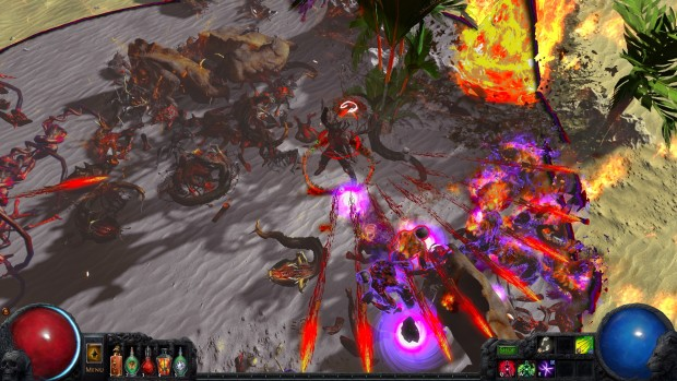 Path of Exile's Split Arrow archer fighting against Breach enemies